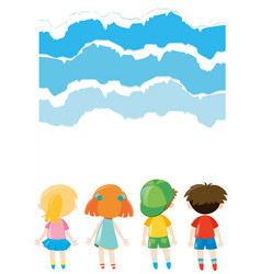paper design with kids standing vector image