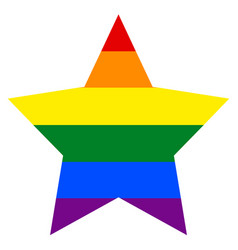 Rainbow flag in star shape vector
