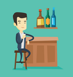 smiling man sitting at the bar counter vector image vector image