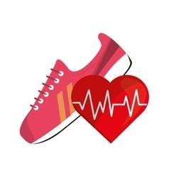 Sneaker and heart cardiogram icon vector