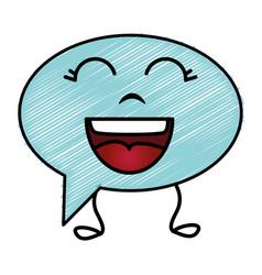 Speech bubble message kawaii character vector
