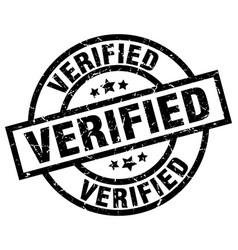 Verified round grunge black stamp vector