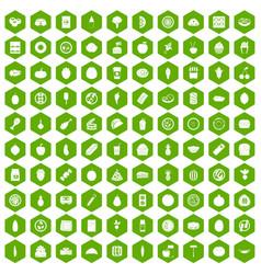 100 nutrition icons hexagon green vector image vector image