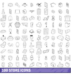 100 store icons set outline style vector
