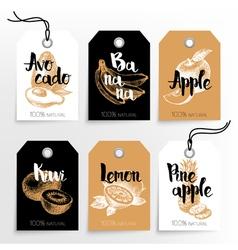 Hand drawn fruits sale tags 100 natural organic vector