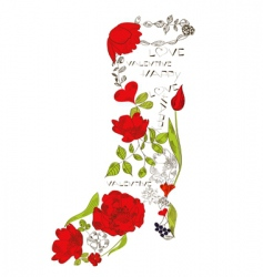 floral boots vector image