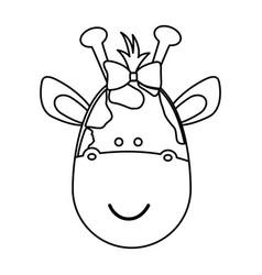 figure face giraffe ribbon bow head icon vector image