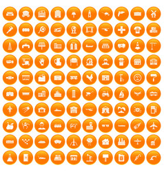 100 industry icons set orange vector