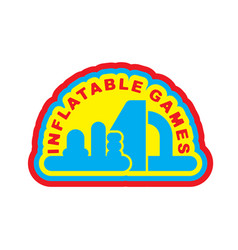Inflatable games logo emblem for water park vector