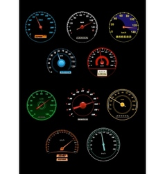 Speedometers set with dials and gauges with needle vector