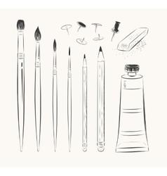 set of art tools vector image