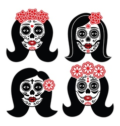 Mexican la catrina - day of the dead girl skull vector