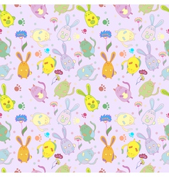 catsrabbits flowers pattern background vector image