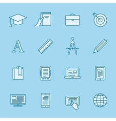 Remote education icons vector image