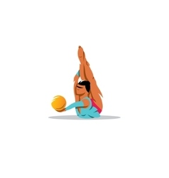 Rhythmic gymnastics girl with ball sign vector