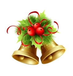 Golden christmas bells with holly berries tinsel vector