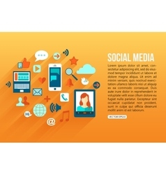 Social media concept with place for text flat vector