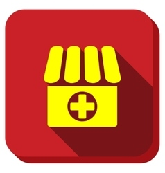 Drugstore longshadow icon vector