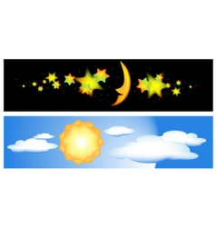 day and night banners vector image