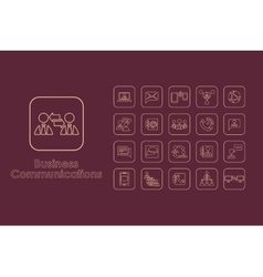 Set of business communications simple icons vector