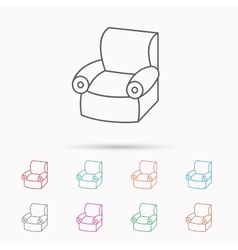 Armchair icon comfortable furniture sign vector