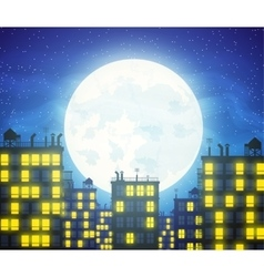 City skylines with cloudy moonlight vector