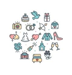 Wedding round design template thin line icon vector