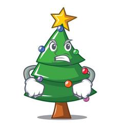 Angry christmas tree character cartoon vector