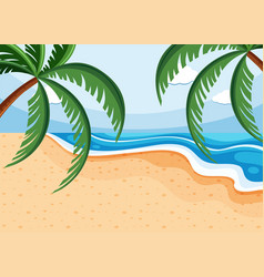 Background scene with coconuts on beach vector