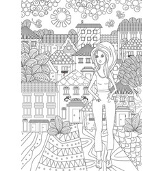 Beautiful girl for coloring book vector