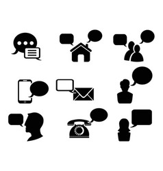 black chat icons set vector image