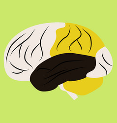 brain in flat monochrome color on white background vector image vector image