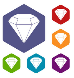 Brilliant gemstone icons set hexagon vector