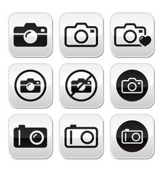 Camera buttons set vector image