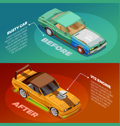 Car tuning 2 isometric banners set vector