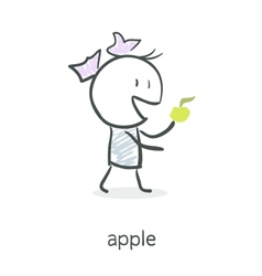 Cartoon girl eating an apple vector