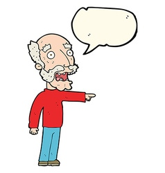 cartoon scared old man pointing with speech bubble vector image vector image