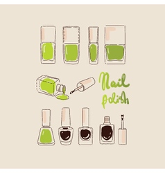 Collection of nail polishes for manicure vector