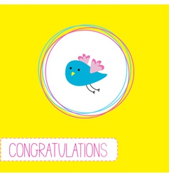 Congratulations card with cute blue bird vector