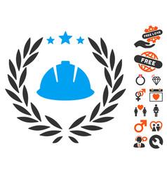 Developer laureal wreath icon with lovely bonus vector