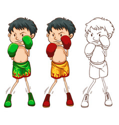 doodle character for boxer vector image