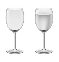 Empty wineglass and a wineglasses with water vector