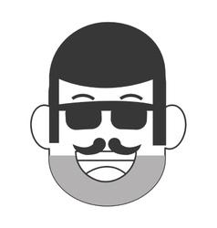 Face of man with facial hair icon vector
