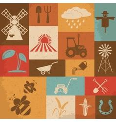 Farming retro icons vector