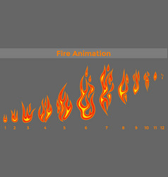 flat fire sprites for animation frames icons vector image
