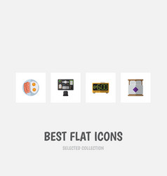Flat icon oneday set of mattress fried egg vector