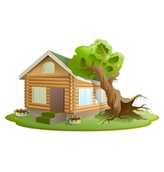 Hurricane tree fell on house Property insurance vector image