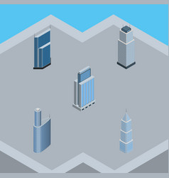 Isometric building set of exterior building vector