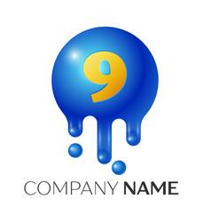 number nine splash logo blue dots and bubbles vector image vector image
