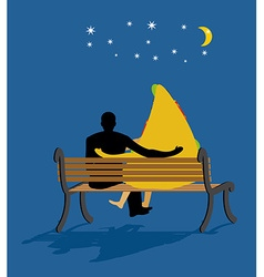 Pizza looked at stars Date night Man and piece of vector image vector image